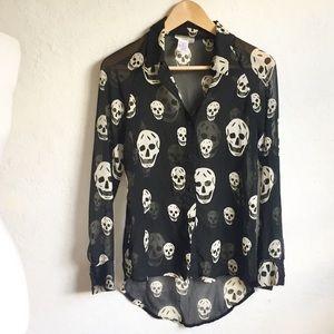 I.ner Sheer Black Skull Blouse S